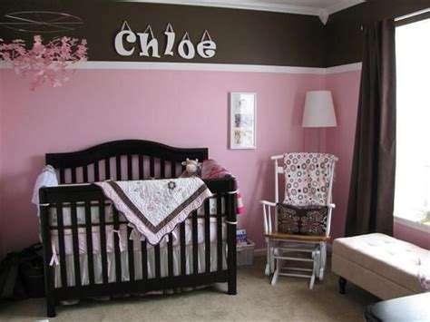 pink and brown nursery ideas idea for nursery chairrail up top instead of down below