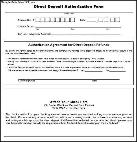 authorization letter to deposit pdf direct deposit authorization form in pdf sle templates