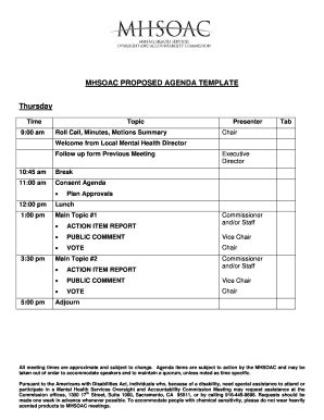 Executive Meeting Agenda Template Forms Fillable Printable Sles For Pdf Word Pdffiller Board Meeting Packet Template