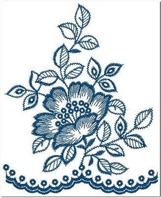 contoh gambar bordiran bunga cantik  punching