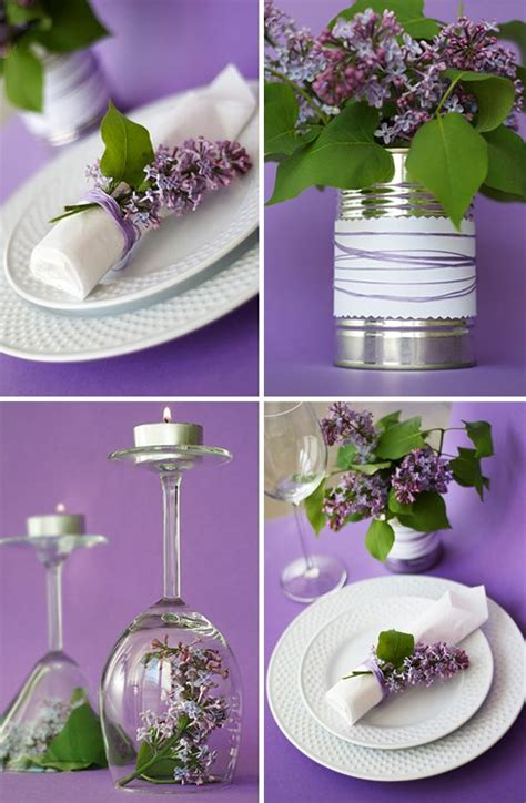 23 adorable lilac decorations wedding flower and glasses