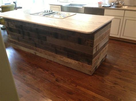 kitchen island reclaimed wood tongue and groove reclaimed barnwood on a kitchen island