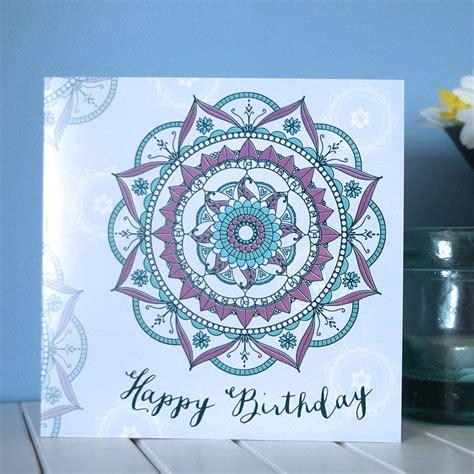 happy birthday mandala design mandala pattern birthday card by seablue designs