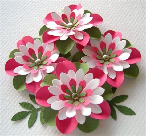 Beautiful Handmade Paper Flowers - paper flowers watermelon creased with brads 4