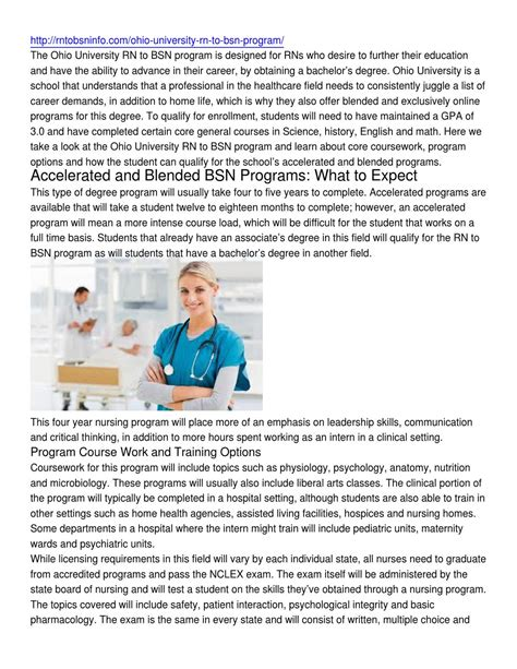 1 year rn programs ohio ohio rn to bsn program information by timothy
