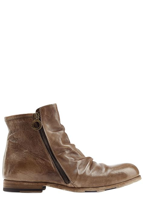 fiorentini baker distressed leather ankle boots in brown