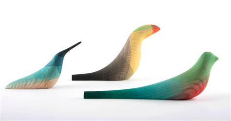 Elegant Wooden Birds Dipped In Watercolor Plumage By
