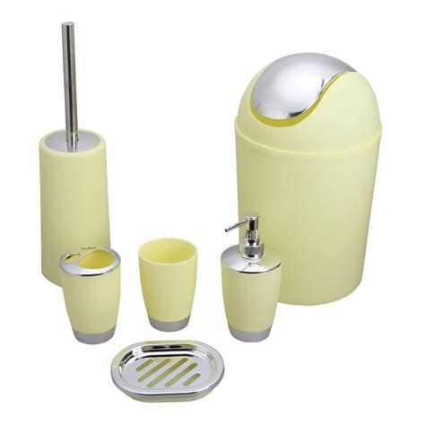 Yellow Bathroom Accessories Sets 6 Bathroom Accessory Set Yellow Dk St016 Decoraport Canada