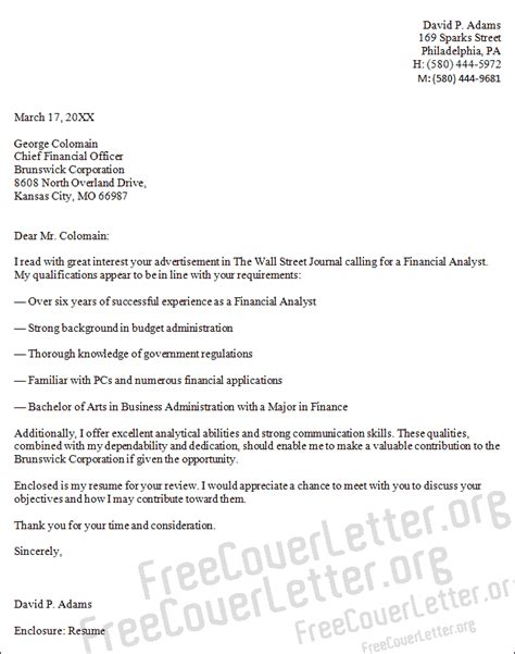 Cover Letter Financial Business Analyst Financial Analyst Cover Letter Sle