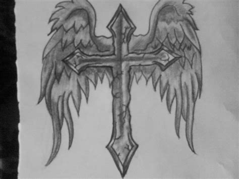 cross with wings tattoo on back wings cross design