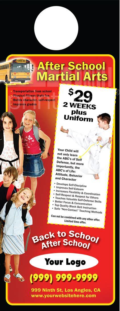 Martial Arts Door Hangers 4 25 X 11 Ma001002 Aq Gloss Martial Arts Flyer Template