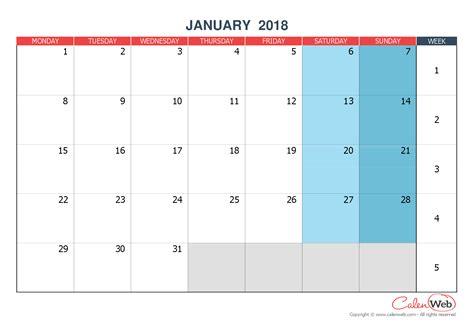 Calendrier 2018 Calenweb January 2018 Calenweb