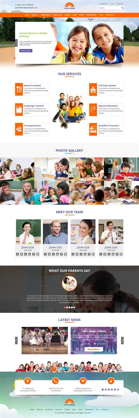 School Website Template Psd Design Free Psd Design Download All Photoshop File Html Css Psd Website Templates Free 2017