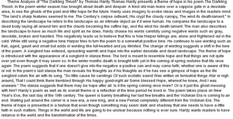 Tom Brennan Theme Essay by Theme Analysis Of Quot The Darkling Thrush Quot By At Essaypedia