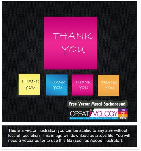 Adobe Illustrator Thank You Card Templates by Free Vector Thank You Note Free Vector In Adobe