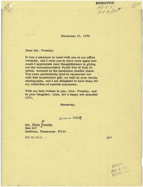 thank you letter president company elvis taking care of business nixon thank you