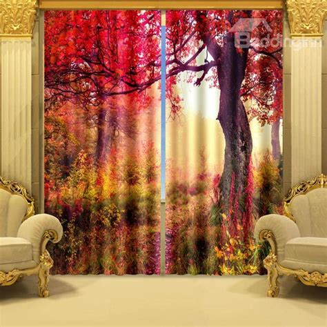 3d curtains beautiful red tree print vibrant color 3d curtain
