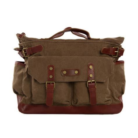 canvas leather briefcase messenger bag, waxed canvas