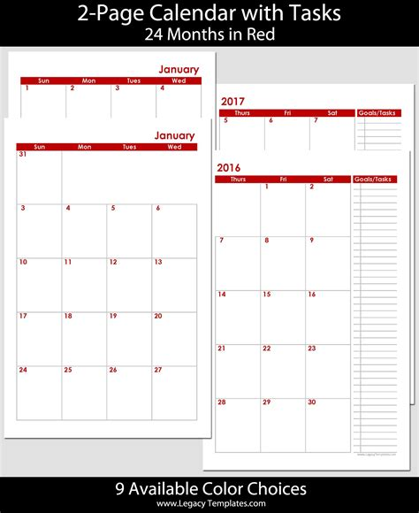 two page calendar template 2016 2017 24 months 2 page calendar half size