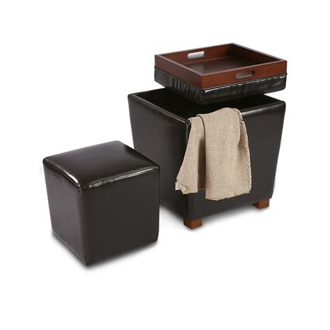 faux leather ottoman coffee table 2pcs upholstered ottoman storage coffee table rest