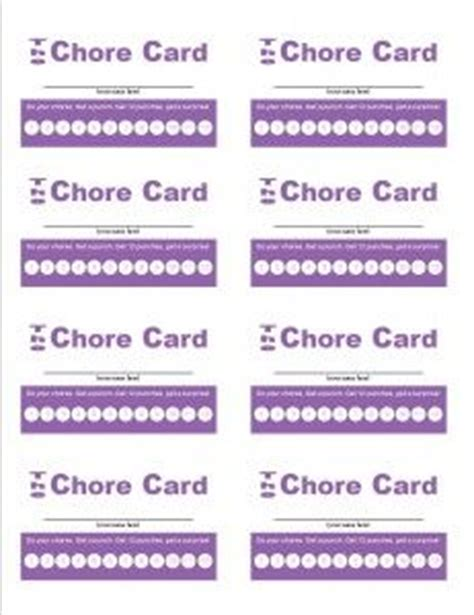 bathroom pass punch card template punch chore cards and cards on