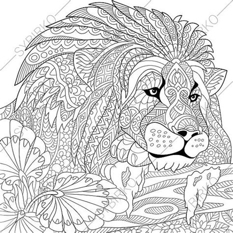 lion coloring page for adults lion adult coloring page zentangle doodle by