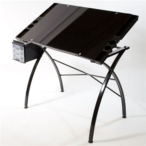 Glass Drawing Art Drafting Table Desk Hobby Craft Black Drafting Table