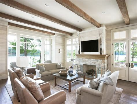 Armchair Tray Fireplace Beams Living Room Traditional With Wide Plank