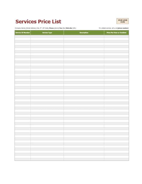 Price List Template Free