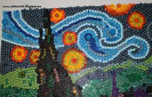 room 104 finished bottle cap mural starry
