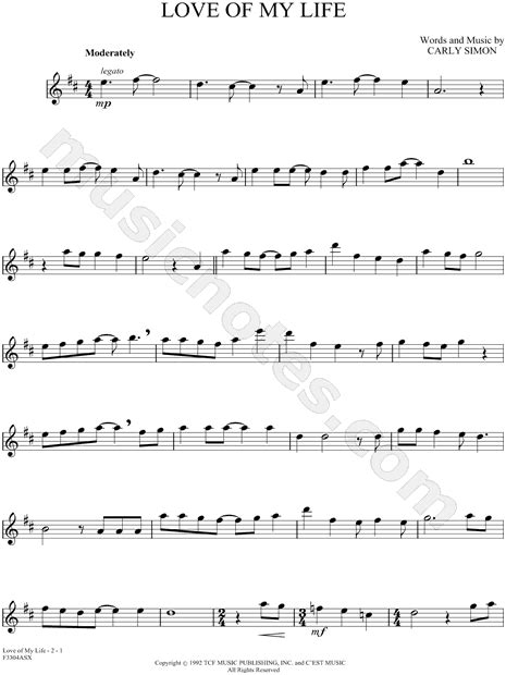 tutorial guitar love of my life carly simon quot love of my life quot sheet music alto saxophone