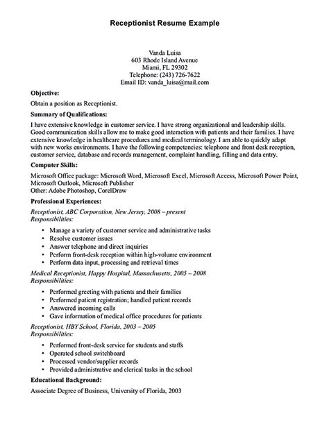 Customer Service Resume Objective Sles by Receptionist Resume Template Receptionist Resume Is