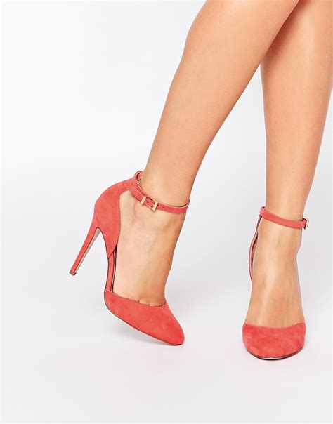 asos high heels asos playwright high heels in pink coral lyst