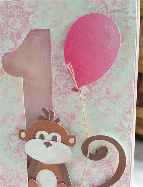 Handmade Au - handmade personalised 1st birthday card monkey