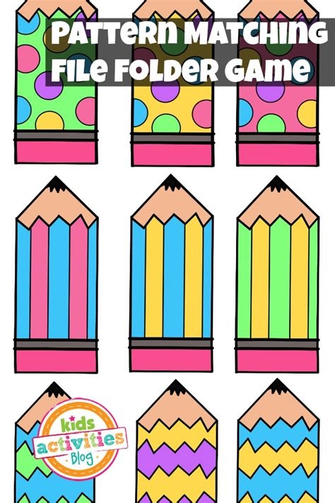 matching patterns pattern matching free printable file folder game for