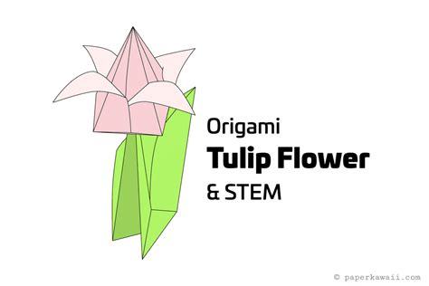 Origami With Stem - how to make an origami tulip flower stem