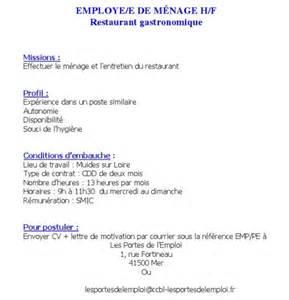 offre d emploi employ 233 de m 233 nage muides sur loire