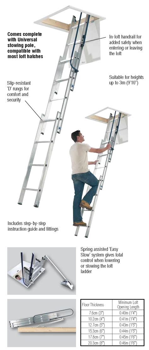 werner aluminium loft ladder 3 section valentine ladders towers 76013 loft ladder 3 section