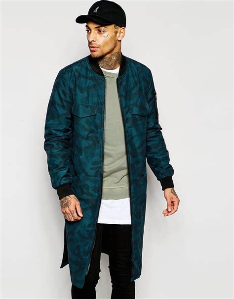 Asos Jacket In Camo Print lyst asos longline bomber jacket in camo print