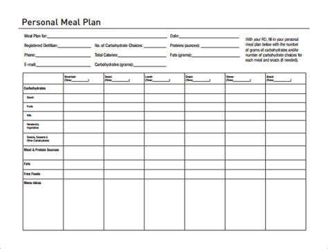 printable diet plan template 14 meal planning template free premium templates