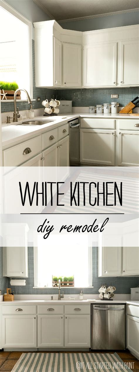 Paint Grade Kitchen Cabinets Builder Grade Kitchen Makeover With White Paint