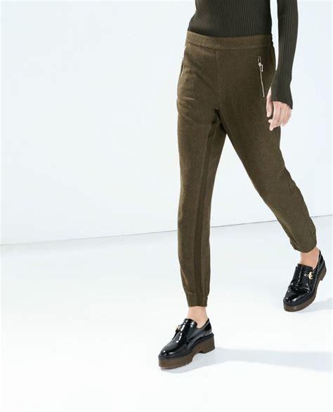Cardy Zara 1 zara bnwt khaki combined fabric trousers wool blend