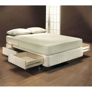 Sto a way fabric upholstered storage mattress foundation in off white