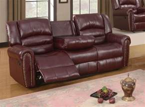 686 burgundy leather reclining sofa with console and
