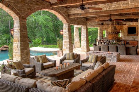 outdoor living spaces covered covered outdoor living spaces brick and reclaimed
