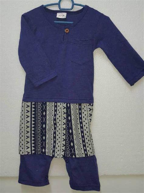 Baju Raya Baby Blue jumper baju melayu sing songket classic baby romper raya blue logon shopping