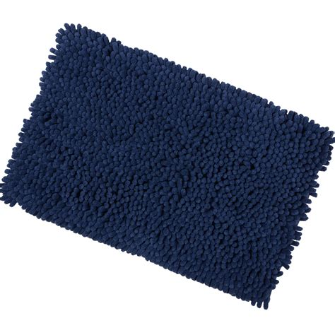 Navy Bath Rug 50x80cm Navy Shaggy Microfibre Shower Bath Mat Rug Non Slip Backing Bamboobliss