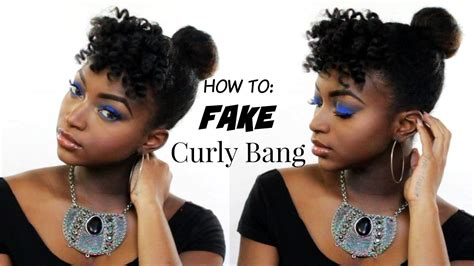 HOW TO: FAKE BANGS FAST   Top Knot Bun on Natural Hair