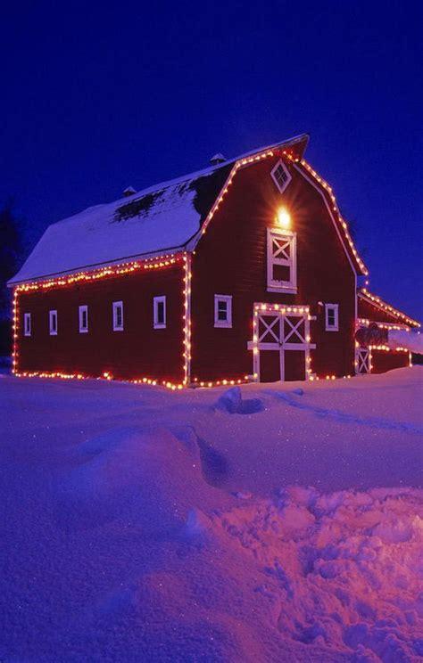 lights on barn for christmas christmas barn