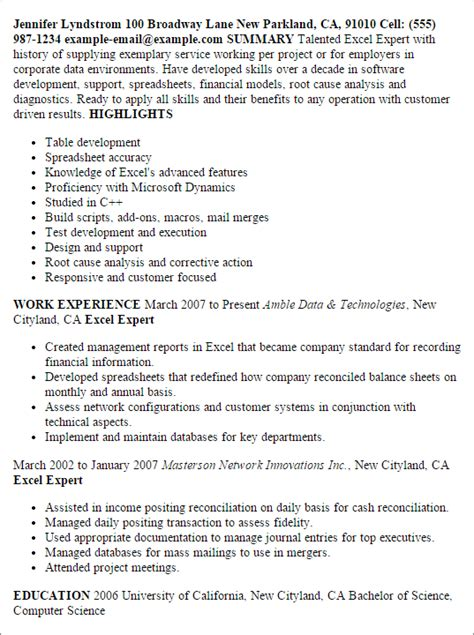 Resume Computer Skills Excel Word Professional Excel Expert Templates To Showcase Your Talent Myperfectresume